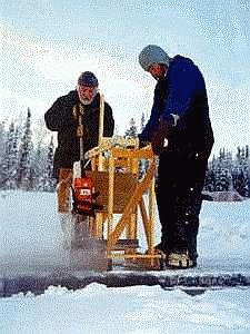 Block of Ice Being Cut